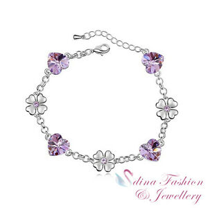 18K-White-Gold-Plated-Made-With-Swarovski-Crystal-Purple-Heart-amp-Flower-Bracelet
