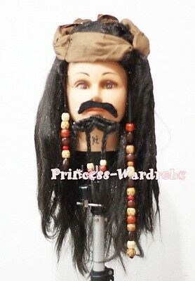 Halloween Funny Brown Corsair Pirate Freebooter Wig Hair Party Costume 3PC Set