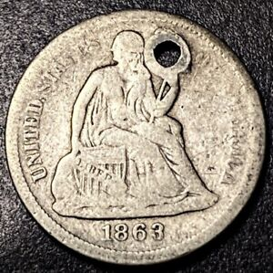 1863 S Seated Liberty Silver Dime 10c Semi Key Date 157k Minted Holed