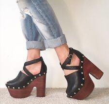 TOPSHOP Black Leather Studded Extreme Platform Ankle Strap Block Heels Size 6