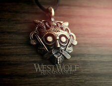 Viking Mask of Odin Pendant - Solid Bronze -- Norse/God/Allfather/Head/Necklace