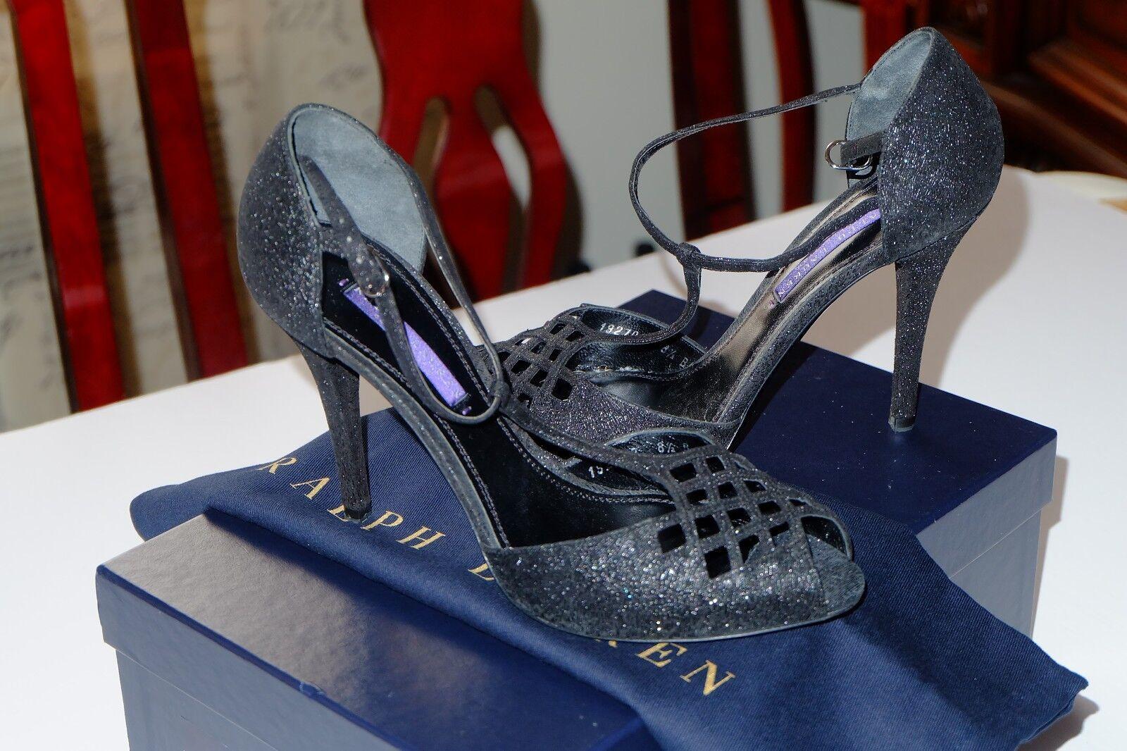 promozioni  695 Authentic RALPH LAUREN LAUREN LAUREN Collection nero Glitter Suede BLATINA Heels, 8.5B  designer online