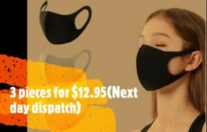 3 Pieces Washable and Reusable Unisex Black Face Mask Mouth cover