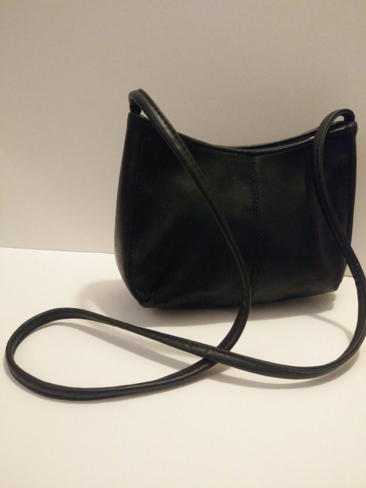 St John's Bay Black Leather Mini Shoulder Handbag Purse Small Size