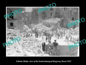 OLD-POSTCARD-SIZE-PHOTO-VALLETTA-MALTA-WWII-BOMBING-OF-KINGSWAY-ST-1942