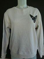 Bongo Siamese Cat Lover Gray Sequins Designs Crewneck Long Sleeve Sweater M