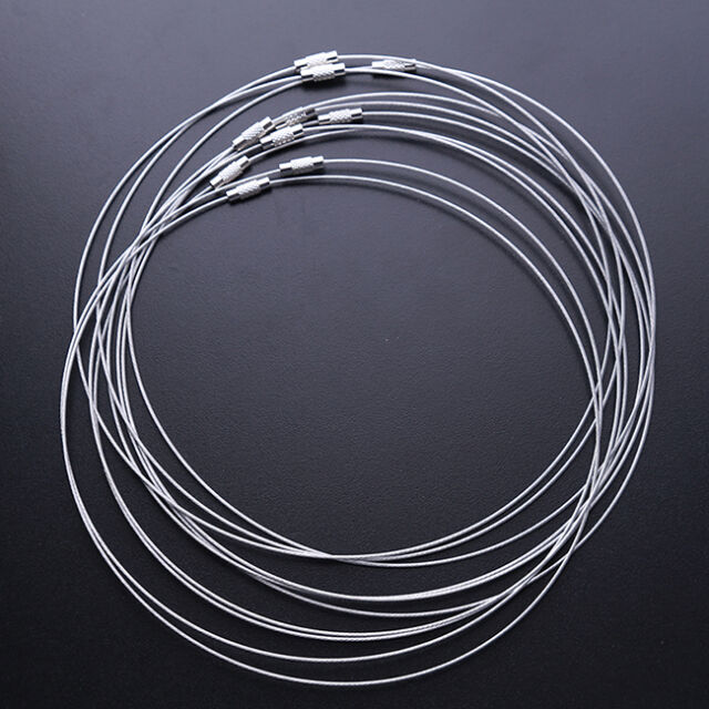 10x Retail Lots Grey Steel Memory Wire Cord Necklace Choker For Beading FREE P&P