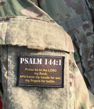 Psalm 144:1 Morale Patch Military Tactical Army Flag USA Hook Badge Bible