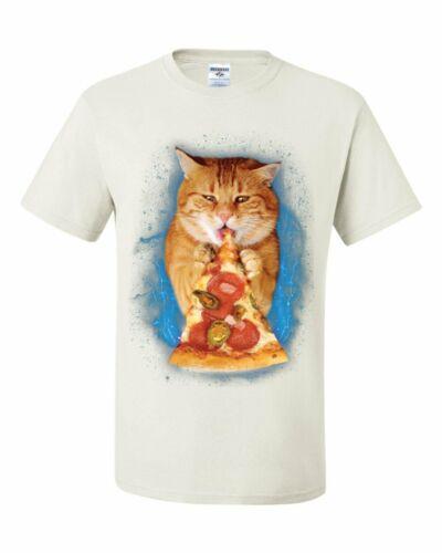 Chat Manger Pizza T-shirt drôle bizarre Chaton Pet Kitty Peperoni tee shirt