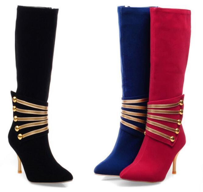 NEW Vogue Women Pointy Toe Suede Knee High Boots Zip up Stilettos Club Party SZ