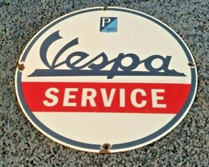 VINTAGE-VESPA-MOTOR-SCOOTER-SERVICE-PORCELAIN-GASOLINE-OIL-DEALER-SIGN
