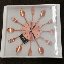 """COPPER FINISHED SPOON AND FORK WALL CLOCK -15"""" DIAMETER 85522"""