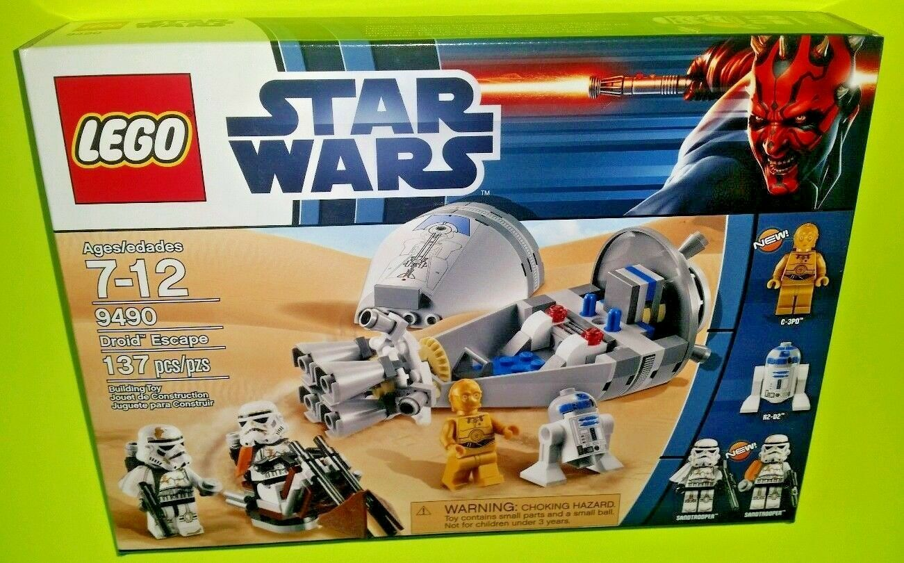 RETIROT Star Wars Lego 9490 DROID ESCAPE R2-D2 SANDTROOPER w/ FIGS, BOX & INSTRU