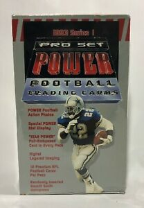1993-Pro-Set-POWER-series-1-Football-factory-sealed-card-box-36packs