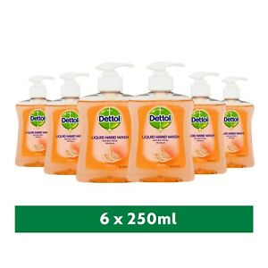 6 x Dettol Antibacterial Liquid Handwash Soap Moisture Grapefruit Fragance 250ml