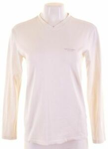 TRUSSARDI-Womens-Top-Long-Sleeve-Size-10-Small-White-Cotton-JY13