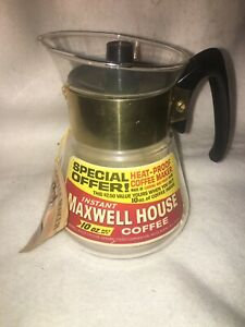 Vintage Maxwell House Corning Glass Coffee Carafe Vintage Promotional Advertising