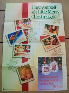 Details About 1991 Us Postal Service Usps Poster C 712 For Christmas Stamps 24 X 36 Inches