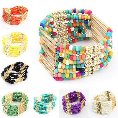 New Vintage Bohemia Colorful Tassel Bead Wristband Bracelet Bangle Women Gift