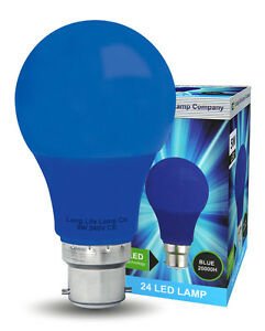 5W-LED-BLUE-GLS-Light-Bulb-B22-Bayonet-Very-Bright-Coloured-A60