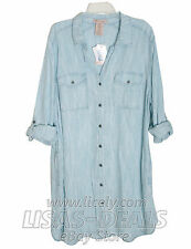 New Womens Philosophy Chambray Tencel Shirt Dress Tunic Light Denim Blue White L