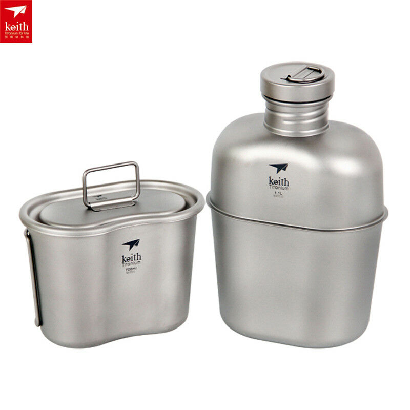Keith Ti3060 Titanium Canteen Water Bottle Cup Camping Tool Army  Box&Bag Jug  save up to 50%