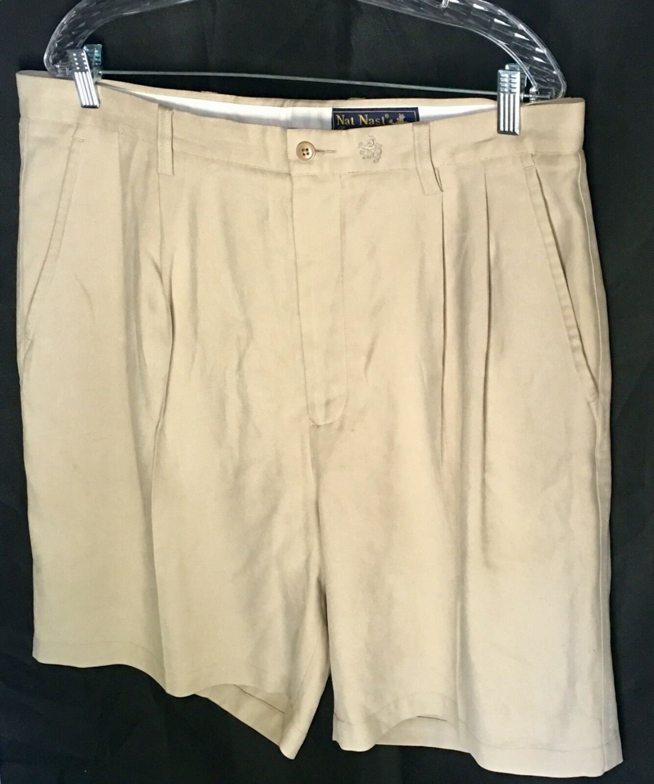 43e97fe00de52f Nast Luxury Originals Men s Dress Shorts 100% Silk Size 36 Beige Nat ...