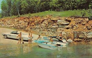 Rough-River-State-Park-Boat-Launch-Boats-Scene-Falls-of-Rough-KY-Vtg-Postcard
