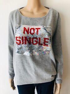 Details zu Cotton Candy cooles Sweatshirt Wendepailletten SINGLE grau ~NEu Gr. 38 M 3411mä