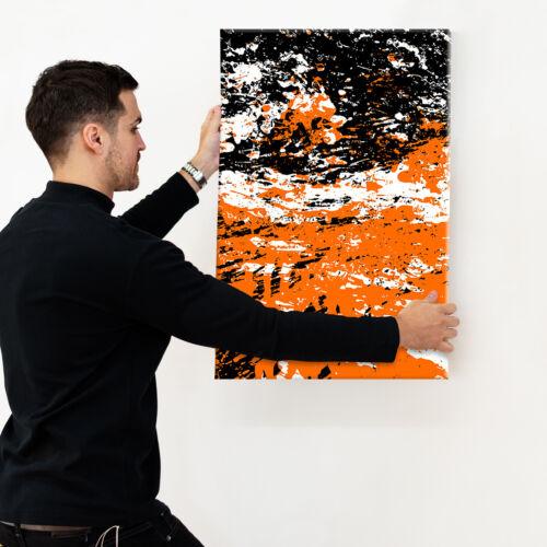 Orange Black Portrait Abstract Canvas Framed Art Large Picture