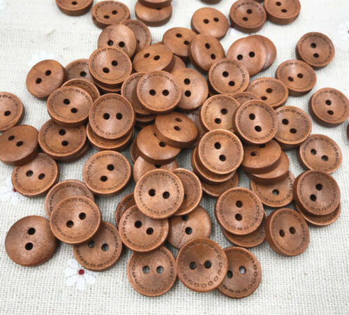 Brown-2-holes-Round-Wooden-Buttons-sewing-Scrapbooking-Craft-15mm