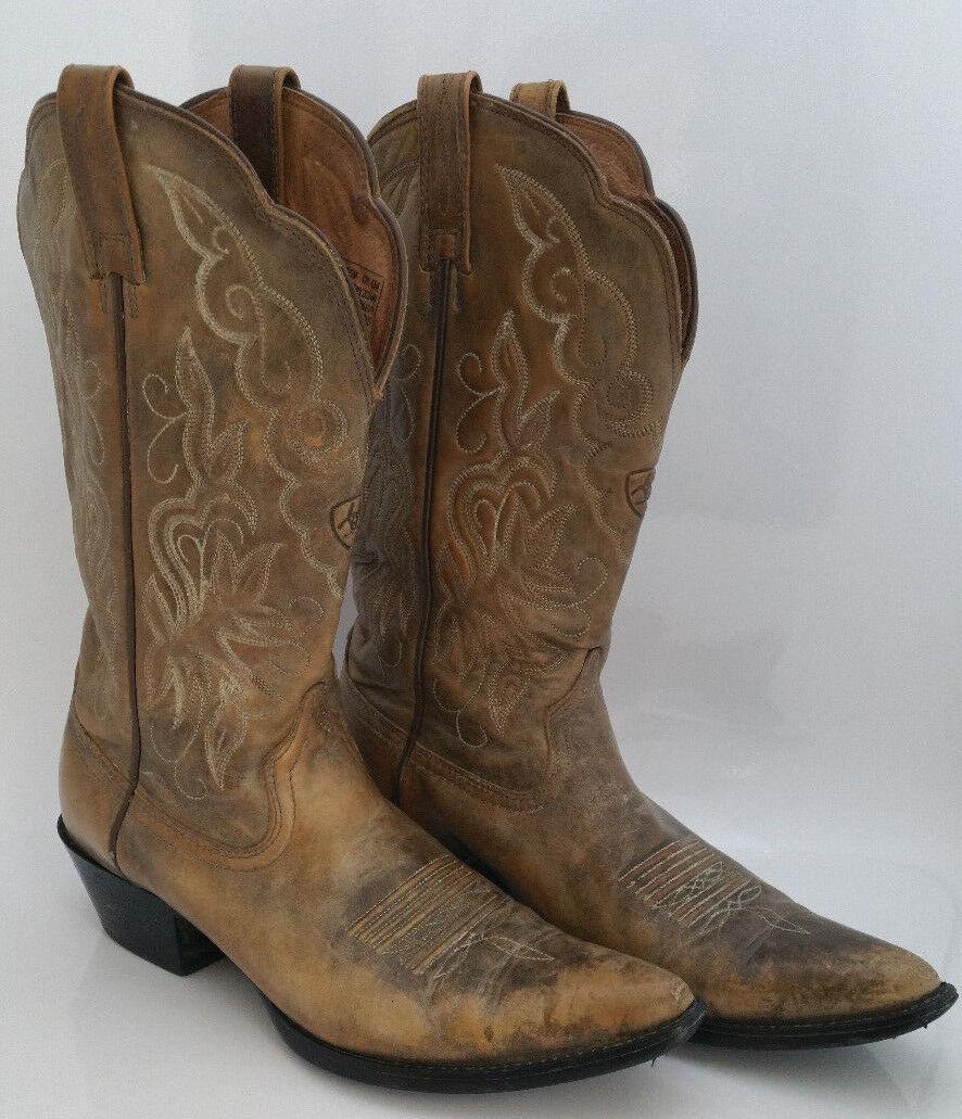 Ariat Heritage Cowboy Western bottes femmes 8.5 B marron Distressed Leather  15729