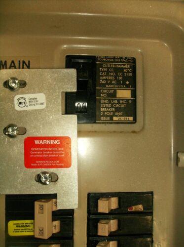 Cutler Hammer Generator interlock Vertical Throw 200 Amp CH Listed EAT-CH200XA