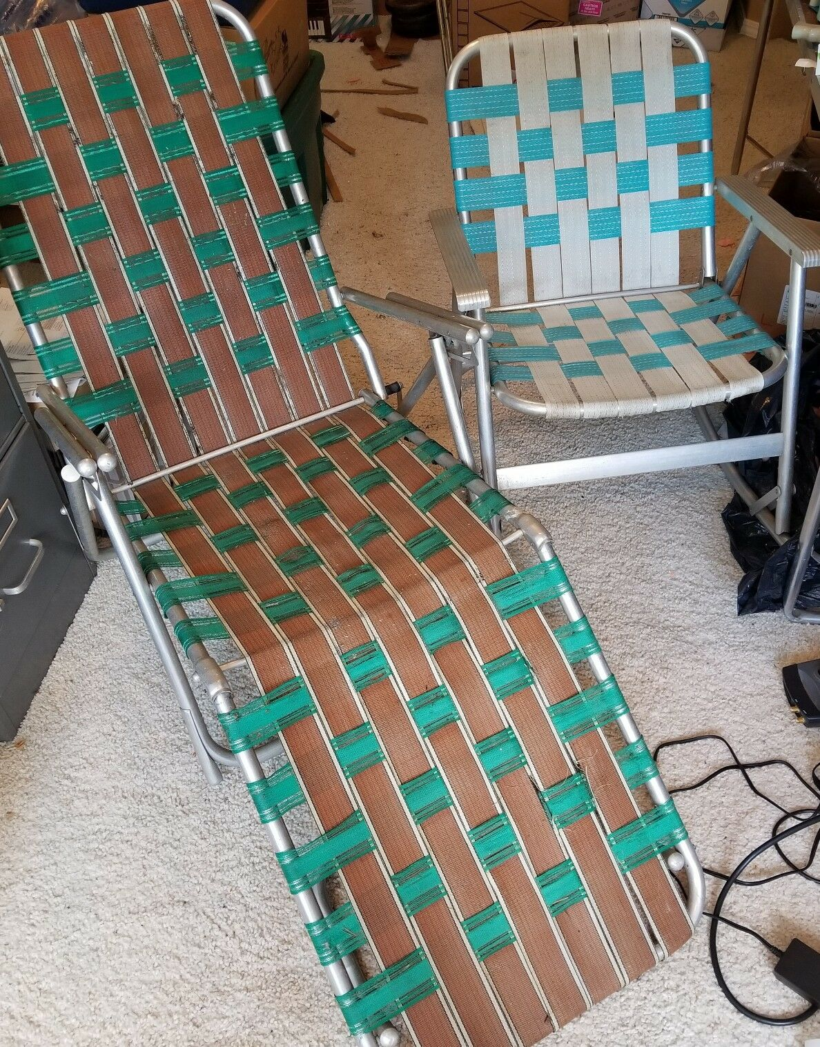 Lot Pair Of Vintage Aluminum Webbed Chairs Chaise Lounge & Rocking Chair used