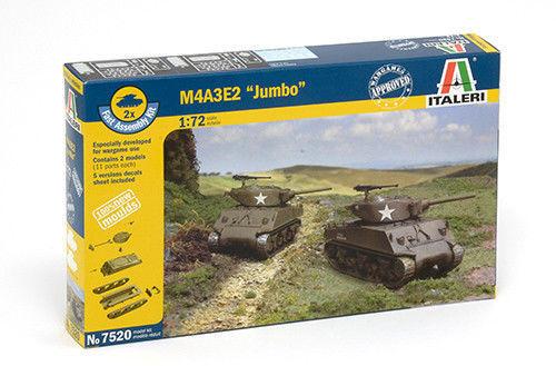 Italeri 7520 1//72 Scale Military Tank Model Kit WWII U.S M4A3E2 Sherman /'Jumbo/'