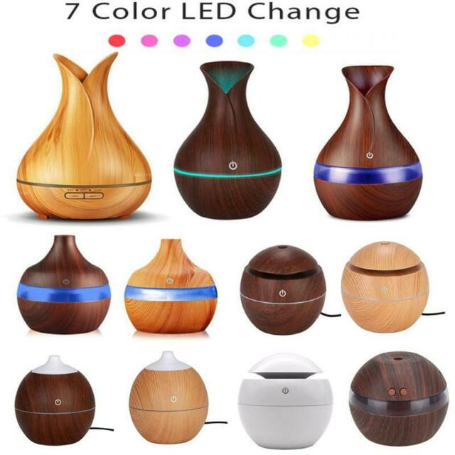 300ml USB Air Diffuser Wood Ultrasonic Air Humidifier Aromatherapy Color Change