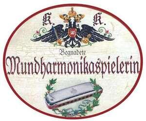 Antiques Mundharmonikapielerin Nostalgieschild Agreeable To Taste
