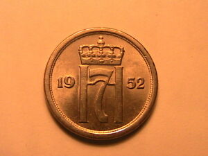 1952-NORWAY-25-Ore-Ch-AU-BU-Lustrous-White-Norge-Twenty-Five-Ore-Norwegian-Coin