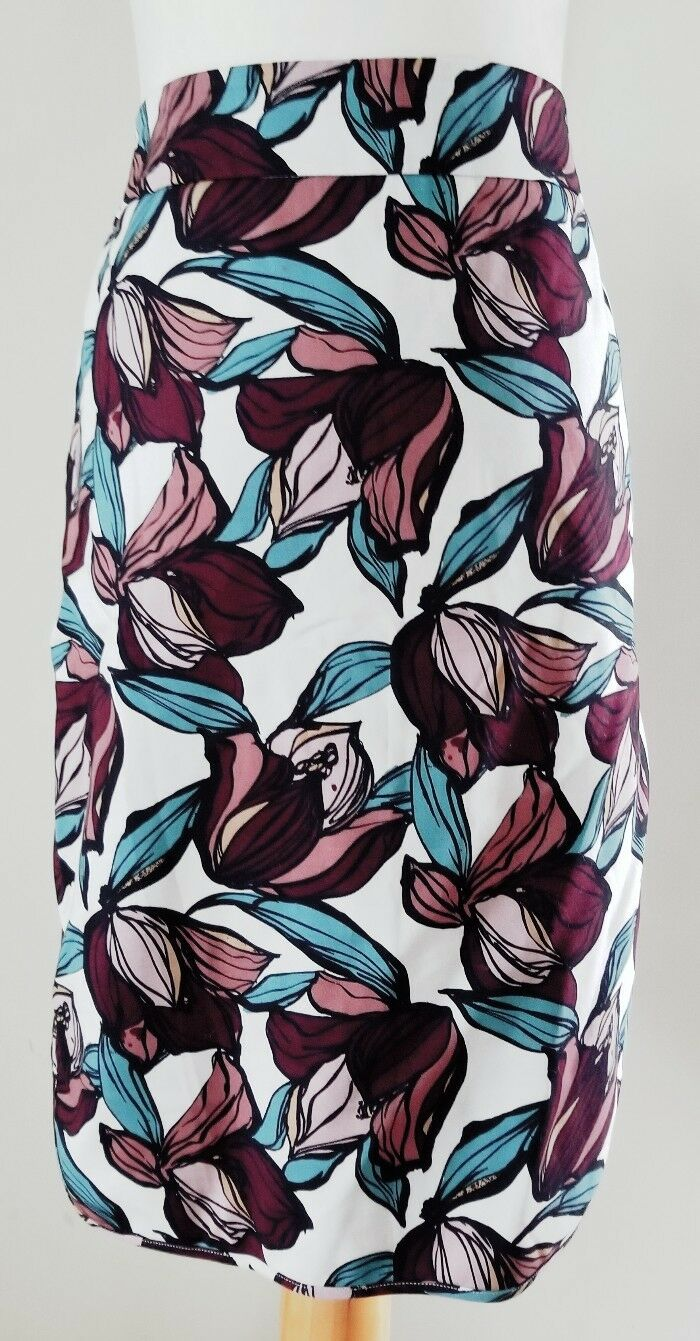 ANN TAYLOR LOFT ABSTRACT FLORAL PENCIL SKIRT SZ 14