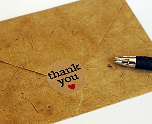 """Natural Paper Kraft Thank You Sticker Labels w Red Hearts 1/"""" Round 1000 Stickers"""