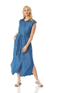 Button-Through-Midi-Denim-Dress-Women-Roman-Originals