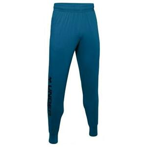 New-Mens-Under-Armour-Sportstyle-Cotton-Graphic-Pants-Sz-S-to-2XL-Blue-Joggers
