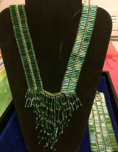 Green Bugle Beads Necklace And Bracelet