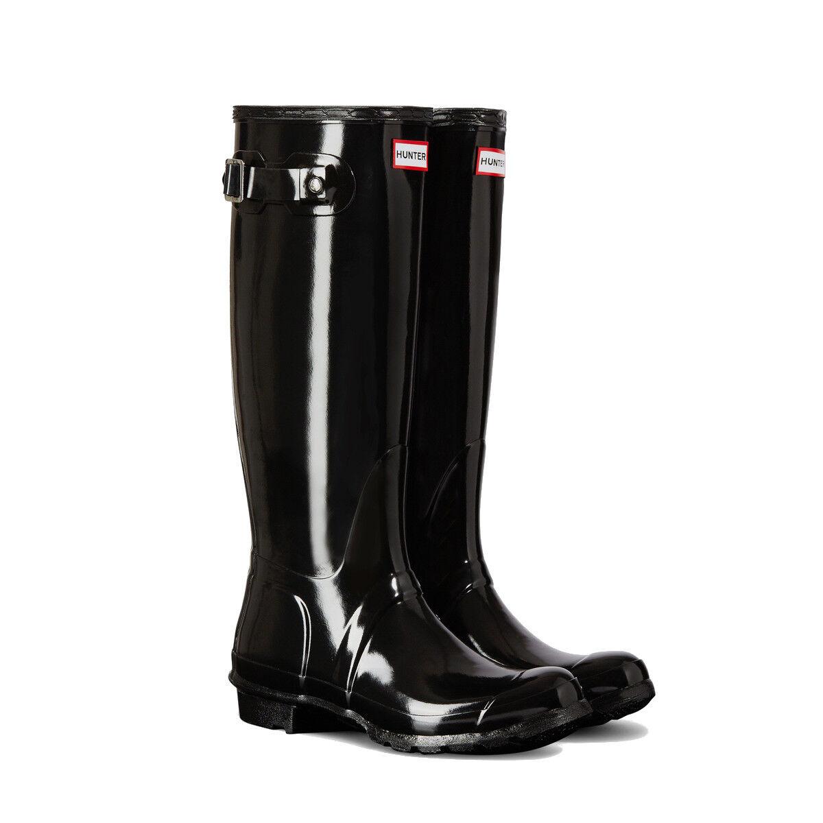 Hunter Original Alta Brillante Para Mujer Negro De Goma Impermeable WFT1000RGL botas de lluvia