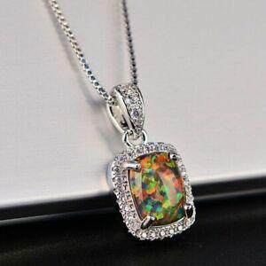 Damen-Halskette-echt-Silber-925-Opal-Stein-Kette-Silber-mt-Anhaenger-Geschenk-Neu