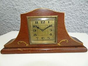 Antique Circa 1930's Miniature Oak Mantel Clock with Square Face & Scroll Design