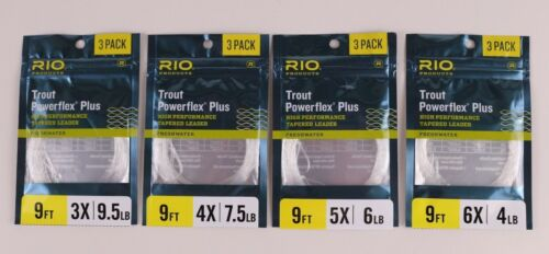 Rio Trout Powerflex Plus 3 Pack 9 FT Tapered Leaders 3x 4x 5x 6x