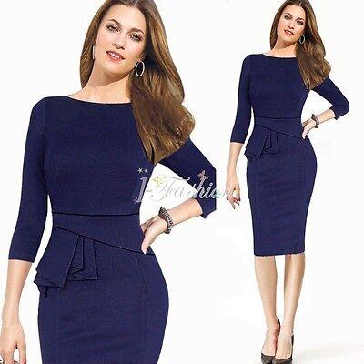 Damenkleid Business Kleid Partykleid Dunkel Blau Pencilkleid Festkleid Gr.36-46