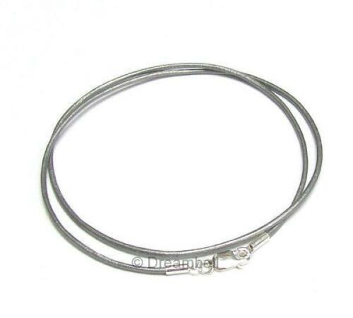 Sterling Silver Véritable Grec cordon CUIR 1 mm Collier Longueur Variable Couleur