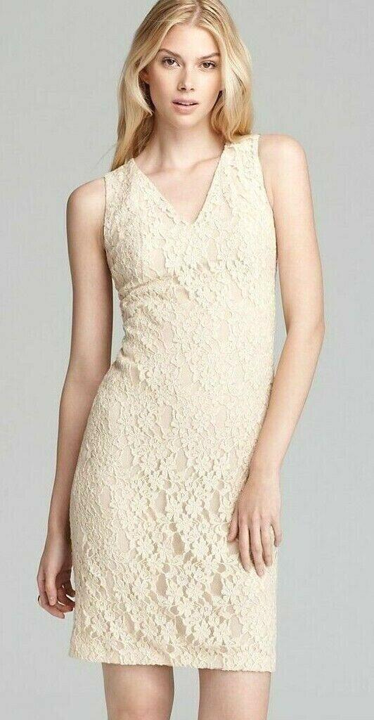 DKNY Stretch Lace Sleeveless Stone Beige Sleeveless Dress M